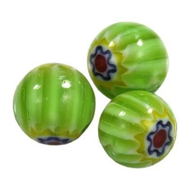 pärlor grön millefiori blomma 6 mm