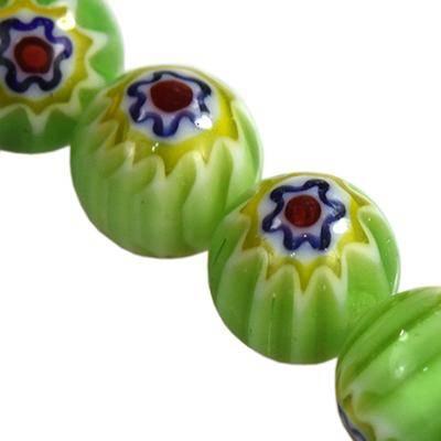 karoliukai žalia millefiori gėlių 6 mm