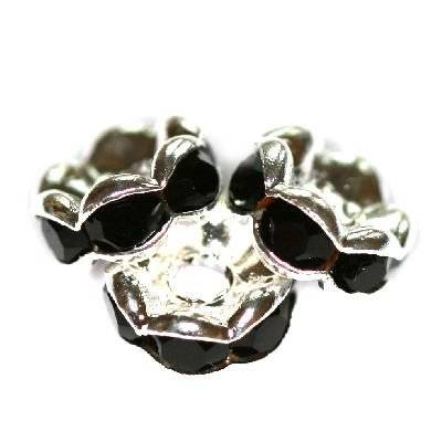 spacers rings with zircons black 6 mm