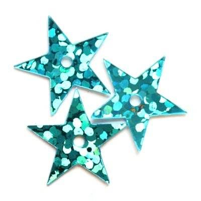 sequins laser stars azure 13 mm