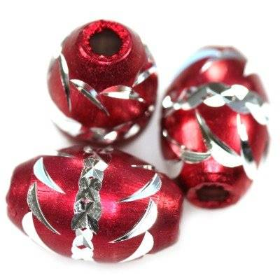 ovals aluminium beads burgundy 8,5 x 12,5