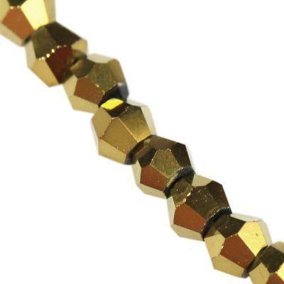 Crystaline toupies revêtu d'or 2 mm / perles de cristal