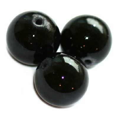 marble beads dyed black 6 mm / natural stone dyed