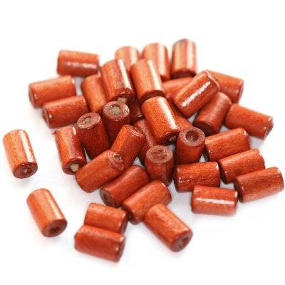 tubes wooden beads red 10 x 6 mm