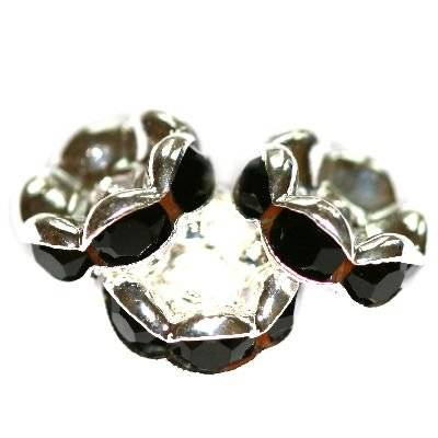 spacers rings with zircons black 8 mm
