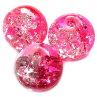 crackle beads beads pink 12 mm
