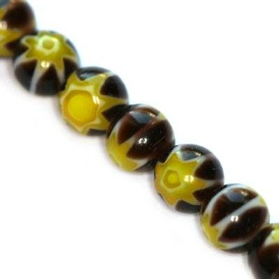 beads black millefiori flower 6 mm