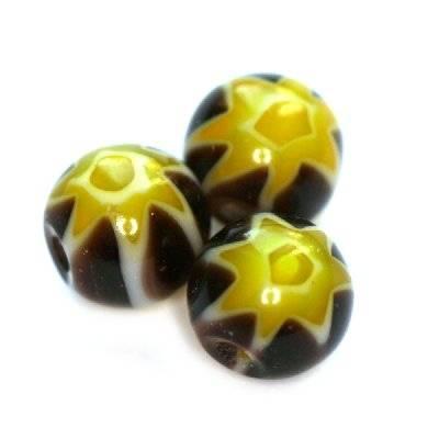 karoliukai juodi millefiori gėlių 6 mm