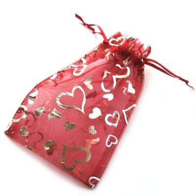 organza bag deep red with hearts 12 x 18 cm