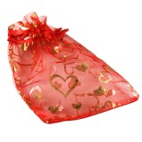 organza bag deep red with hearts 12 x 18 cm