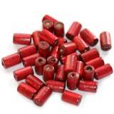 tubes wooden beads burgundy 10 x 6 mm
