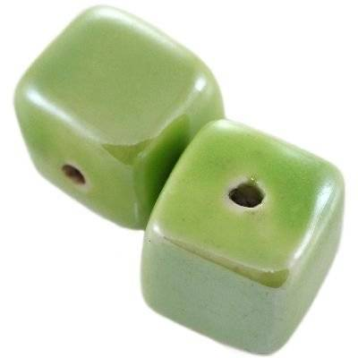 kostki porcelanowe błyszczące zielone 16 mm