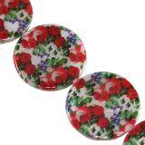 mother of pearl coin red roses 30 mm