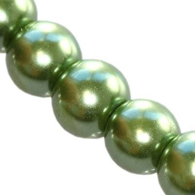 glass pearls green 8 mm