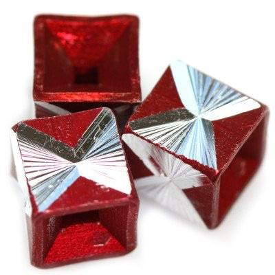 cubes aluminium beads burgundy 8 mm