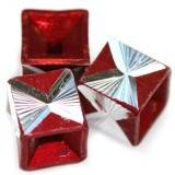 cubes aluminium beads burgundy 8 mm