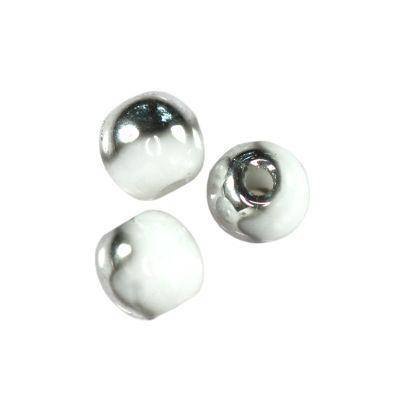 round beads white silver 3 mm