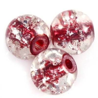 crackle beads beads red color inside 6 mm