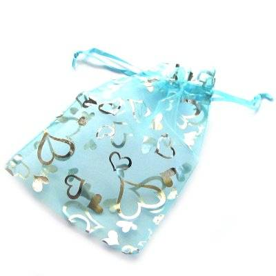 organza bag azure with hearts 12 x 18 cm