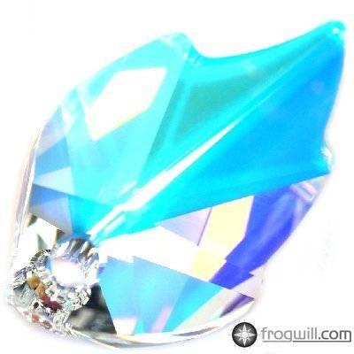 Swarovski leaf pendants crystal ab 26 x 16 mm