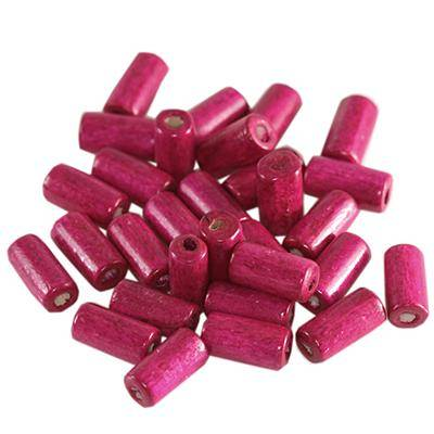 tubes wooden beads pink 12 x 5 mm