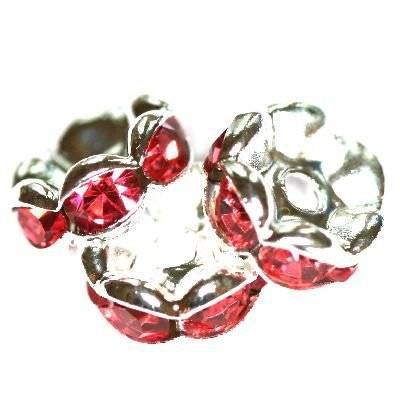 spacers rings with zircons rose 8 mm