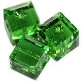 Swarovski cube beads fern green 6 mm