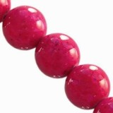 marble beads dyed pink 6 mm / natural stone dyed