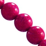 round beads marble dyed pink 6 mm