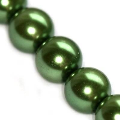 perles de verre vert 12 mm