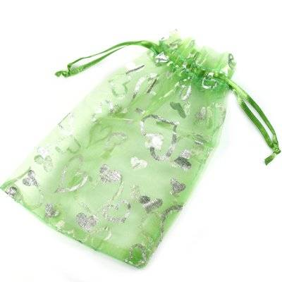 organza bag green with hearts 12 x 18 cm