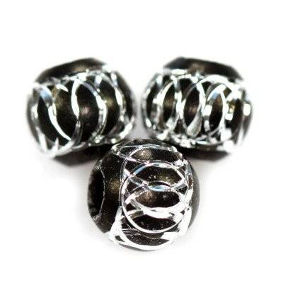round aluminium beads black 8 mm