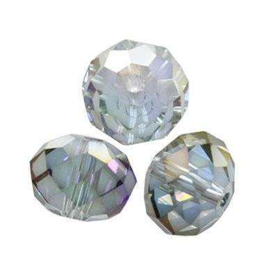 crystals flat faceted silver shade ab beads briolette 12 mm
