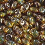 SuperDuo beads amber semi bronze luster 2,5 x 5 mm / Czech two hole beads