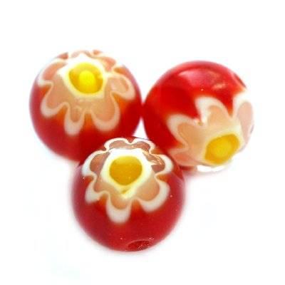 koraliki czerwone millefiori kwiatek 8 mm