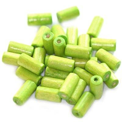 tubes wooden beads light green 12 x 5 mm