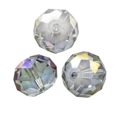crystals flat faceted silver shade ab beads briolette 14 mm