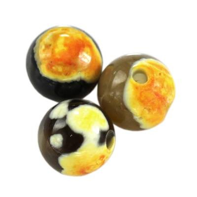 agate dragon eye yellow round 4 mm piedra teñida