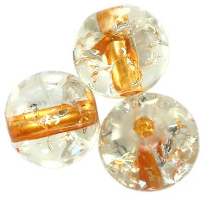 koraliki crackle kule pomarańczowy środek 6 mm