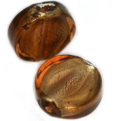 koraliki lampwork monety brąz 15 mm