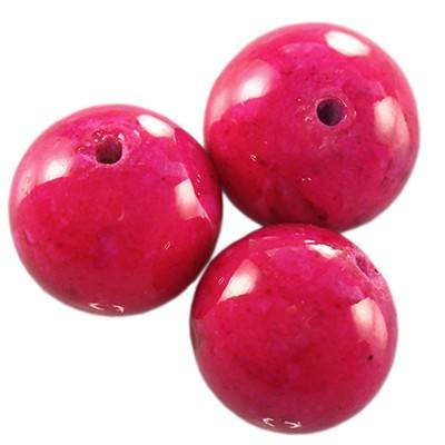 färgad marmor runda pärlor rosa 10 mm