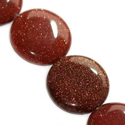 gold sandstone coins 25 mm / semi-precious stone synthetic