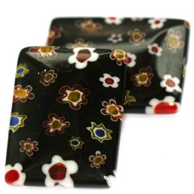 rectangles black millefiori flowers 23 x 18 mm