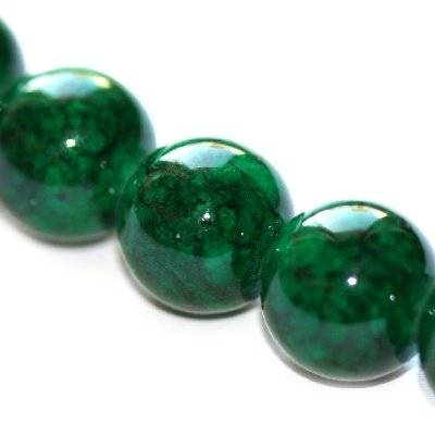 round beads marble dyed green 16 mm