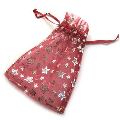 organza bag deep red with stars 12 x 18 cm