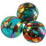 Perlas de vidrio azul cósmica con rosa 12 mm