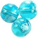 glass beads galactic transparent azure 14 mm