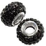 koraliki modułowe caramballa czarne kryształki 14 mm