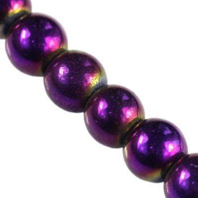 koraliki Bubble AB fioletowe 8 mm