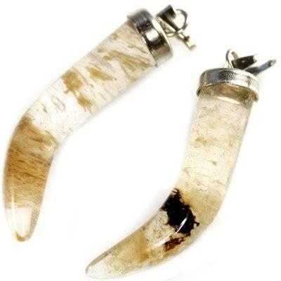 moss quartz yellow teeth pendants 30 mm / semi-precious stone synthetic